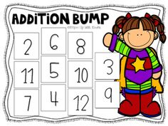 Add this superhero themed game to your math tubs and allow students to practice addition. This file contains directions, 2 bump game boards in color, and 2 bump game boards in black and white. Head over to my blog for more minimal prep math game ideas: http://www.keepinupwithkinder.com/Happy teaching! :)