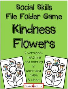 This fun and simple activity can be used to make a file folder game, shoe box activity, or social skills group lesson. It features pictures of students which can be sorted onto kindness or unkindness flowers. Two levels are included--matching pictures and sorting pictures.