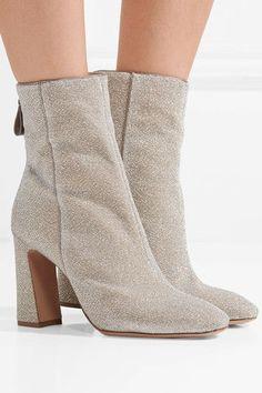33e619bb439 Alexandre Birman - Corella leather-trimmed metallic stretch-knit boots