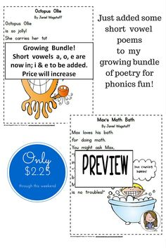These poems are tons of fun!  Long vowels, short vowels, consonant digraphs...MORE TO BE ADDED!  Don't miss out on current low price of this growing bundle!  https://www.teacherspayteachers.com/Product/Poetry-for-Phonics-Fun-Gr-1-2-Growing-Bundle-Long-Vowels-Consonant-Digraphs-2007904