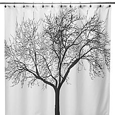 image of Black Tree Fabric 70-Inch x 72-Inch Shower Curtain
