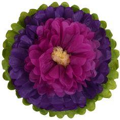 "Tissue Paper Flower 10"" Royal Purple Raspberry Ivory"