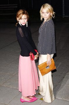 Mary-Kate and Ashley Olsen in maxi skirts and flats