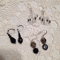 3 sets vintage  black earrings by 2Heartsstudio on Etsy, $10.00