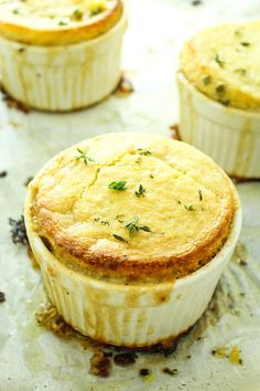 Vegan Cornbread Pot Pies!! These are delightfully easy and make great leftovers. The homemade sauce comes together in under 15 minutes. Perfect fall comfort food!