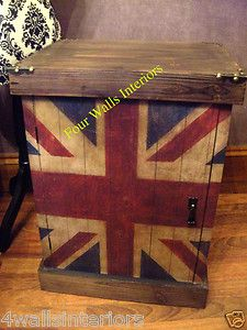 RUSTIC VINTAGE UNION JACK BEDSIDE CHESTS CABINETS TABLE CUPBOARD PAIR