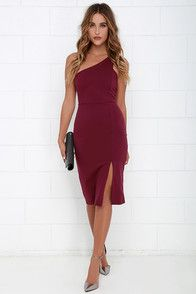 Pack your bags with the One-Way Ticket Burgundy One Shoulder Midi Dress and you can count on an unforgettable getaway! Burgundy stretch knit sweeps across the shoulder to a single tank strap alongside notched arm openings, and a darted bodice. Fitted waist and bodycon skirt create a seductive finale, complete with a slit at front. Hidden side zipper. Fully lined. Self: 65% Rayon, 30% Nylon, 5% Spandex. Lining: 100% Polyester. Hand Wash Cold.