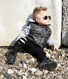 Baby Boy Fashion Toddler Boy Style, Distressed Jeans, Denim, Leather Jacket, Aviators