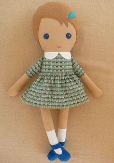 Fabric Doll Rag Doll Girl in Modern Blue Check by rovingovine