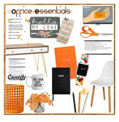 """Office Essentials"" by helenevlacho ❤ liked on Polyvore featuring interior, interiors, interior design, home, home decor, interior decorating, Worlds Away, Control Brand, Design Ideas and Fiskars"