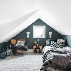 obsessed with this small but modern boho bedroom. Small space solutions will be Boho Bedroom bedroom Boho Modern obsessed Small Solutions Space Small Loft Bedroom, Attic Bedroom Designs, Attic Loft, Extra Bedroom, Loft Room, Attic Design, Trendy Bedroom, Attic Office, Loft Bedrooms