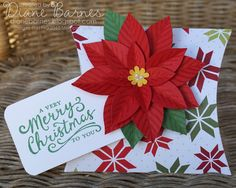 Christmas pillow box & tag using Stampin Up square pillow box die, poinsettia - festive flower punch & Reason for the Season stamps. By Di Barnes #colourmehappy #stampinup #christmas