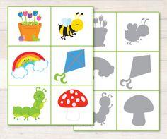"""Jeu d'associations: les formes aux ombres. Du merveilleux blog  http://www.busylittlebugs.com.au/ (allez visiter la section """"Freebies"""", OMG)."""