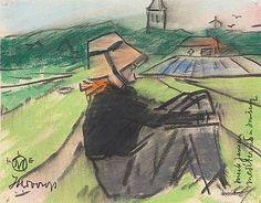 Miek Janssen mediterend in Domburg Johannes Theodoor Jan Toorop 1918