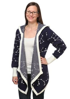 Twinkle, Twinkle Little Star: Astronomy is at your fingertips as you wear this Draped Ladies' Hooded Cardigan covered in constellations, perfect for showing off your love of the stars.