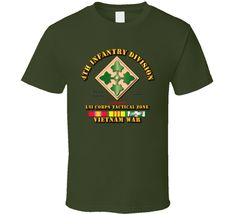 4th Infantry Div w VN Svc Ribbons Military Insignia Shirt