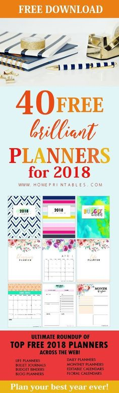 Please enjoy this ultimate roundup of free printable planner 2018! There are 40+ planners and organizers to choose from! Click to download now. #planner #2018 #freeplanner2018 #planner2018 #plannerove #free