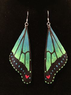 Butterfly Earrings Hand painted Leather Aqua by HeartbeatHandmade
