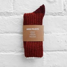 rust red wool socks
