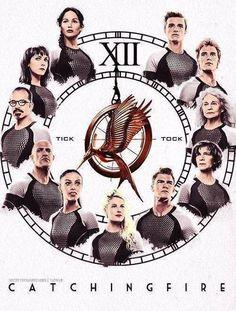 Katniss, Johanna, Beetee, Brutus, Enobaria, Cashmere, Gloss, Wiress, Mags, Finnick, Peeta. Tick tock.