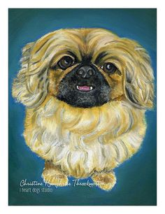 LOOKING for a GOOD HOME: Pekingese original oil painting by i heart dogs studio.