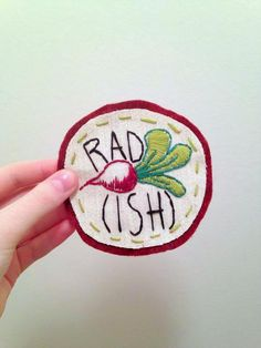 Radish Hand Embroidered Sew On Patch by SnailShoppe on Etsy