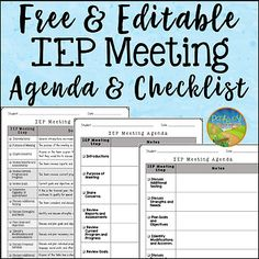 IEP Meeting Agenda and Checklist FREE Use this editable agenda and checklist to keep track of your IEP meetings. It includes a list of IEP meeting steps with a short descrip Special Education Organization, Special Education Activities, Special Education Classroom, Teacher Resources, Autism Classroom, Teacher Humor, Elementary Education, Elementary Art, Teacher Stuff