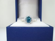 1.00+Carat+Blue+Diamond+Engagement+Ring+14K+White+by+JewelryByGaro,+$1600.00