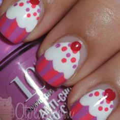 Cupcake Nails... so cute for little girls!! I may have to talk one of my neices into letting me do this..lol...