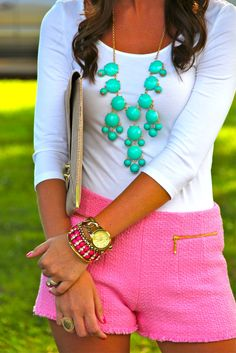 preppy turquoise bubble statement necklace and pink high waisted twill shorts with great arm candy. #chic #style #fashion #classy #girly