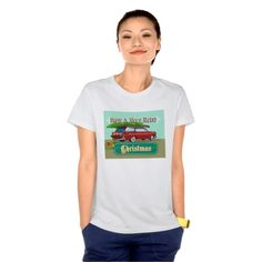 """Retro Christmas Tree Station Wagon Tee Shirt. Holiday women's t-shirt with an illustration showing a christmas tree on top of vintage station wagon automobile with gifts presents in the car boot and words """"Have a very retro christmas"""". #christmaspresents #xmasgifts #xmas2015"""