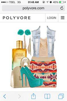 Masame Wedge. Navajo Skirt Outfit. Cream Top. Denim Top. LV TA.