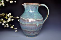 ceramic pitchers pottery | Jade Green Juice Pitcher Ceramic Jug Pottery B
