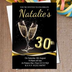 Black and Gold Birthday Invitations Luxury 10 Personalised Black & Gold Champagne Birthday Party 70th Birthday Invitations, 30th Birthday Cards, Gold Birthday Party, Birthday Bash, Surprise Birthday, Birthday Cakes, Birthday Ideas, Wedding Invitations, Happy Birthday