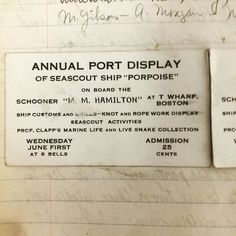 Community engagement is vital for recruiting new #SeaScouts. If youth do not know about Ships in their hometown it is extremely difficult to become a Sea Scouts. Sea Scouts in Boston in 1932 knew how to host a community event. This ticket shows their annual port display would be on the Schooner M. M. Hamilton with knot tying and rope work displays (most likely Marlinspike) and would also include a marine life and live snake collection. Cost was 25 cents (about $4.36 adjusted for inflation)…
