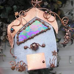 Starlight Fairy House Stained Glass Moon Star Copper Steel Metal Wall Art Mixed Media Sculpture Home Decor on Etsy, $68.00