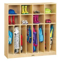 Kids Wooden Coat Lockers with Cubbies for sale! Provides eight coat compartments and eight cubbies for storing shoes, books, toys and more. Coat Storage, Cubby Storage, Kids Storage, Office Storage, Locker Storage, Storage Units, Shoe Storage, Storage Ideas, Daycare Storage