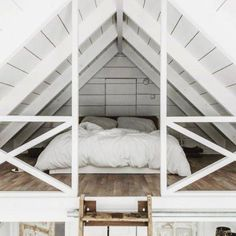 "theglossiernerd: """"photo credit Tifforelie "" "" I've always liked the idea of a bedroom loft. Maybe it's because a loft can feel more secluded than a normal room. Regardless, this loft bedroom is. Attic Loft, Loft Room, Bedroom Loft, Cozy Bedroom, Bedroom Decor, Bedroom Ideas, Attic Office, Attic Stairs, Mezzanine Bedroom"