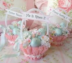 #easter #DIY baskets with crepe paper   For handmade greeting cards visit me at My Personal blog: http://stampingwithbibiana.blogspot.com/