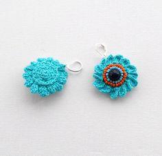 Crochet Beaded Earrings - Turquoise Blue Flowers Earrings - Crochet Jewellery. $6,90, via Etsy.