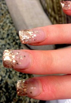 Gold Glitter acrylic nails,love them!
