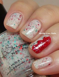 Shelby Lou Nails - KBShimmer Holly Back Girl - Accent nail done with Nail Vinyls chevron, OPI Cinnamon Sweet, and KBShimmer I Only Have Ice For You