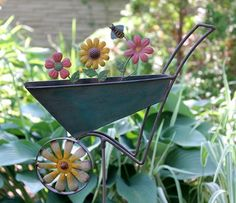 Wheelbarrow Wind Spinner Metal 48 in.T 11 in. W Garden Yard Decor Windmill Lawn #Unbranded