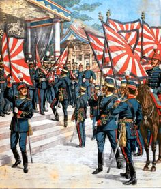 Japanese Emperor Meiji giving flags to his troops