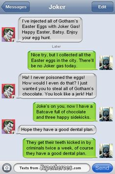 Happy Easter from the Dentists of Gotham. http://textsfromsuperheroes.com Batman Robin, Im Batman, Robin Superhero, Superhero Texts, Superman, Funny Batman, Superhero Pictures, Batman Stuff, Dc Characters
