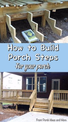 Pictures and tips for building steps to your porch on Front Porch Ideas and More.