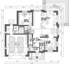 Rzut parteru projektu Opałek II N House Outside Design, House Design, The Plan, How To Plan, Brick Siding, My Dream Home, House Plans, Floor Plans, House Styles