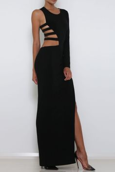 Abyss Muse Strappy Asymmetrical Gown Black