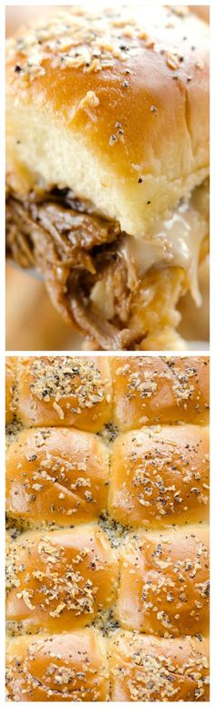 Cheesy BBQ Pork Baked Sliders ~ An easy family friendly meal you will want to make again and again... Absolutely drool worthy.