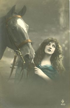 Vintage Woman with Horse Photo Postcard